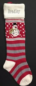 POTTERY BARN KIDS FAIR ISLE CHRISTMAS STOCKING *BRADLEY* SNOWMAN RED GRAY NEW