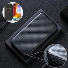 For LG Velvet Luxury Hybrid Flip Carbon Fiber Wallet Purse Card Case Full Cover