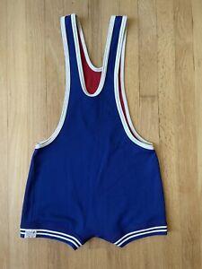 Vintage Matman Wrestling Singlet Size Medium Red Blue 80s 90s USA VTG