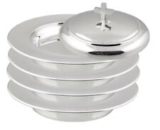 Communion Ware 4 Stacking Bread Plate + 1 Lid (Stainless Steel Mirror Finish)