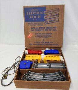 RUNS Schylling #700 Colorful Battery Steam Passenger Set BOXED 1950s O gauge