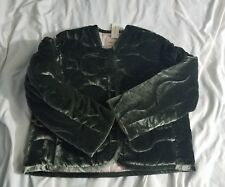 NWT Rebecca Taylor Womens Quilted Velvet Coat, Army, MEDIUM