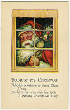 Santa Claus, Christmas, Santa in the Window with Presents,Beautiful Old Postcard