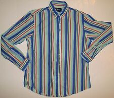 Ralph Lauren Large L 16.5 Custom Fit Striped Shirt Blue Green Orange Button Down