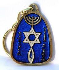 Blue Messianic Keychain Menorah,Star of David,Fish Hebrew Jewish Roots Holy Land