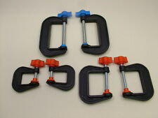 Set of 6 G-clamps 2 each 25mm,50mm & 75mm new,British made,high strength nylon