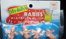 vintage 1940s Alden  MY DOLLY plastic baby dolls for dollhouses; crib; carriages
