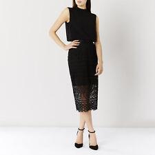 Coast Audrey Lace Pencil Skirt Black Size UK 12 Lf076 NN 22