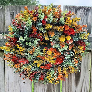 Autumn Harvest Blessings Door WREATH Fall Leaves Thanksgiving Wall Decor