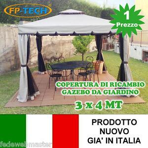 COPERTURA RICAMBIO TELO CAMINO PER GAZEBO 3X4 DA GIARDINO ANTIPIOGGIA  PVC 3 X 4