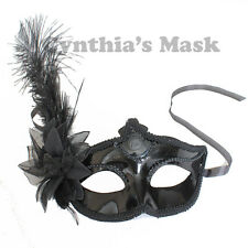Black Shiny Metallic Venetian Masquerade Mask w/Ostrich Feather Prom Party