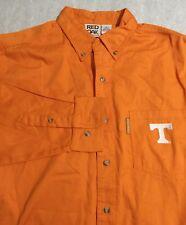 Red Oak Sports Mans Large Long Sleeve Dress Shirt Tennessee Orange 100% Cotton