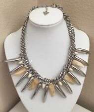 GUESS Lucite & Silver Tone Horn Spikes Beaded Chunky Statement Necklace
