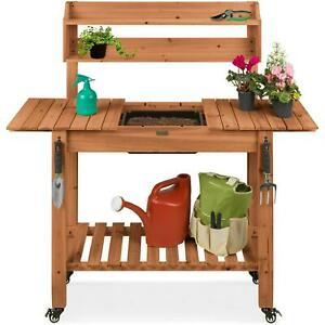 Wood Garden Potting Bench With Sliding Tabletop Food Grade Dry Sink And 4
