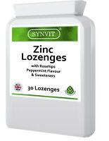 SYNVIT Zinc Lozenge (Peppermint) Rosehip Immune System Support 30 Tablets