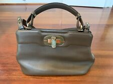 BVLGARI Isabella Rossellini 2Way Hand Bag Shoulder Bag Purse Brown Latch Leather