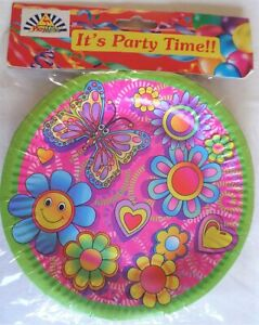 Pk of 6 Pink Butterflies Hearts Party Time party Girl Loot Paper Plates 18 cm