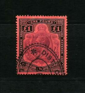 Nyasaland GV 1918  £1 purple & black on red SG 98 Used CV £200.00