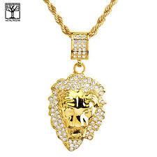 """New Fashion Iced Out Lion Head Medallion 26"""" Heavy Rope Chain Necklace Na 8860 G"""