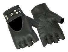 Womens Fingerless Gloves with Rivet Genuine Leather Motorcycle Riding Fashion