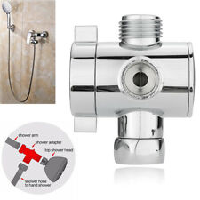 "3 Way Bathroom Chrome Diverter 1/2"" T-adapter Valve for Shower Head Arm Mounted"