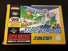 1994#BUGS BUNNY RABBIT RAMPAGE SNES SUPER NINTENDO SUNSOFT  PAL ENG BOX #NIB RAR