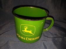 John Deere Logo Green Ceramic Enamel Tin Cup Coffee Diner Mug Tractor