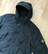 STONE ISLAND MICRO REPS BLACK GARMENT DYED LIGHTWEIGHT HOODED PARKA JACKET XL