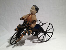 1870's BOY ON VELOCIPEDE TOY, CLOCKWORK, STEVENS & BROWN TOY CO., ALL ORIGINAL
