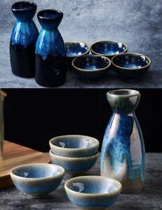 5 Pcs Retro Japanese Sake Set Ceramic Flagon Liquor Wine Pot Creative Drinkware