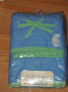 CHILD OF MINE CARTERS VALANCE & CRIB SKIRT DUST RUFFLE SET BLUE STRIPE BOX PLEAT