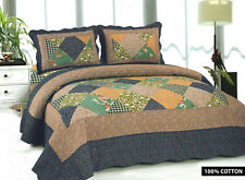 Bedspread With 2 Pillow Shams Bedding Duvet Throw Quilted Patchwork Double/king