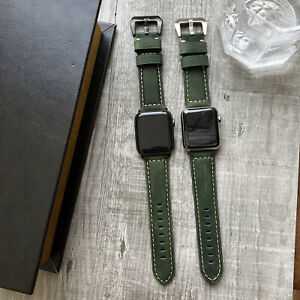 For Apple Watch Series 7 6 SE 5 4 44mm 45mm Green Bull Leather Strap Band iwatch