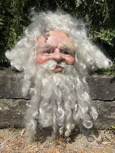 Vintage Disembodied Santa Claus Head Papier-mâché Oddity Gaff Sideshow Curiosity