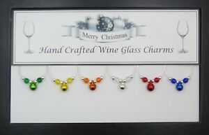 Christmas Bells Wine Glass Charms with Silver Beads Handmade Just for You