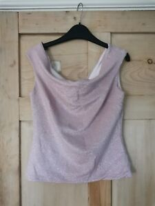 Ted Baker Metallic off-shoulder occassion top, blush/silver (size 2/UK10) - NWT