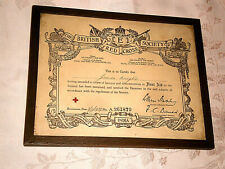 More details for framed british red cross society first aid certificate india 1939 james knight
