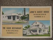 Jones Guest House & The Oasis Restaurant, Florence, S.C., unused vintage card