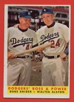1958 Topps #314 Duke Snider GOOD+ TEAR MARKED Walter Alston Los Angeles Dodgers