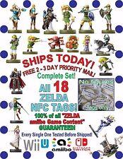 COMPLETE All 18 Zelda amiibo NFC Tags Set Ocarina Fierce Deity Majoras Mask Link