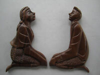 Folk Art Primitive Wood Sitting Couple Love Birds Wall Decor 12""