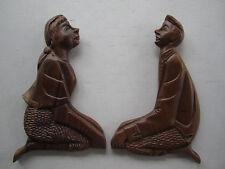 "Folk Art Primitive Wood Sitting Couple Love Birds Wall Decor 12"""