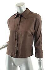 PRADA Dark Brown Simple Classic DUPIONI SILK Blouse 40/US6