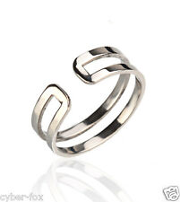 14K White Gold Double Rings Women's Lady Stainless Steel Open Ring