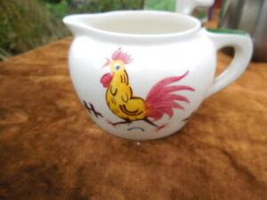Vintage - Adams Pottery - Small Hand Painted Milk Jug Cream Jug - Fierce Cock