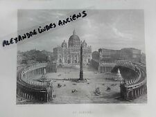 GRAVURE 1860 ITALIE ROME PLACE SAINT PIERRE