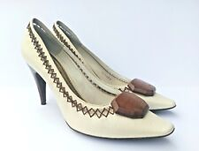Louis Vuitton Ivory Leather Wood Slip On Closed Toe Pumps Size 37.5 / 7.5