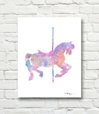 Carousel Horse Abstract Watercolor Painting 11 x 14 Art Print by Artist DJR