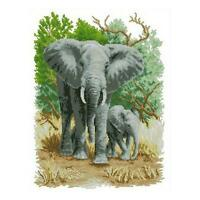 Home Decor Elephants and Her Baby Stamped Cross Stitch Kit 11CT Embroidery Set i