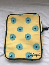 Life Is Good Tablet Sleeve Cover Canvas 8x10 Zipper Yellow Aqua Flowers Padded